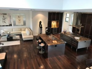Fort Lauderdale Upscale Building Design with Wenge Hardwood Flooring